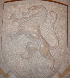 Détail du lion sculpté, forme inspirée par le blason de Lyon
